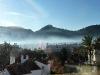 Morgennebel über dem Hafen