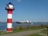 Elbe bei Lühe mit neuem Leuchtturm