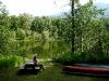 Die Kanus liegen bereit zum Bootfahren